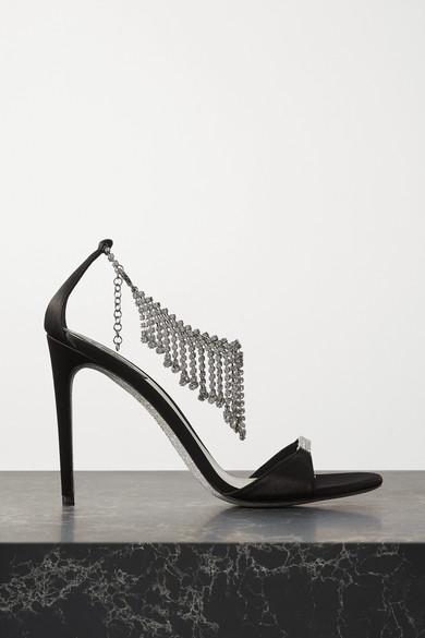 René Caovilla - 水晶缀饰缎布凉鞋 - 黑色 - IT37.5