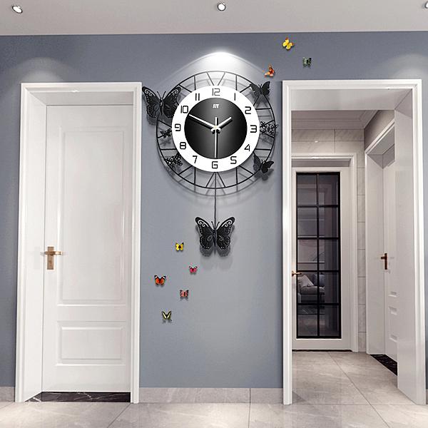 掛鐘 北歐鍾表掛鍾客廳大氣個性創意時尚藝術表家用現代簡約掛牆時鍾 漫步雲端