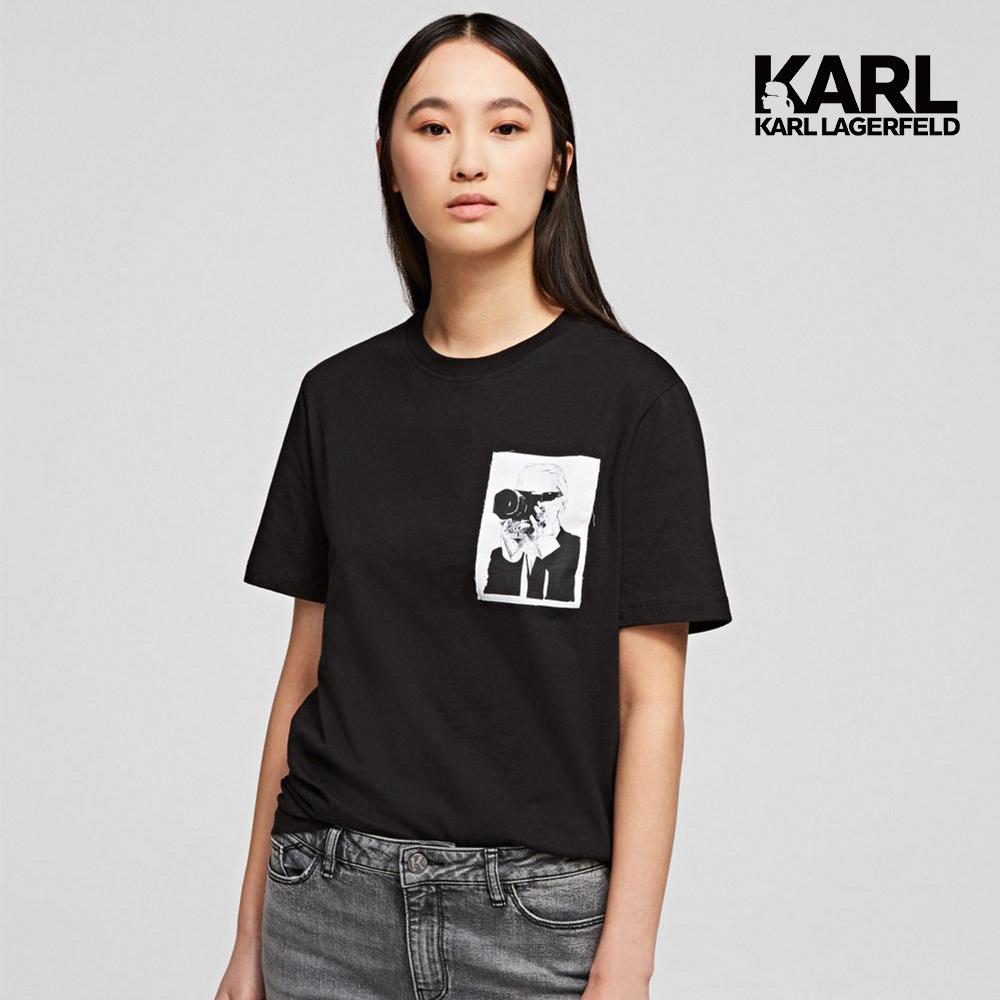 【KARL LAGERFELD】傳奇KARL口袋T恤-黑