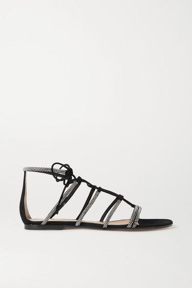 Gianvito Rossi - 水晶缀饰绒面革凉鞋 - 黑色 - IT37.5