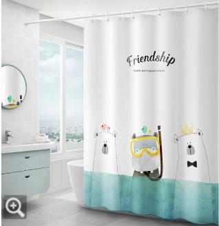 宜家浴簾套裝免打孔衛生間隔斷防水布洗澡間浴室淋浴卡通加厚門簾【全館免運 限時鉅惠】