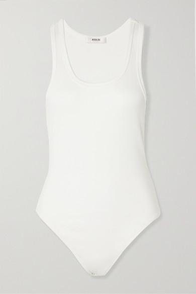 AGOLDE - 罗纹弹力平纹布连体紧身衣 - 白色 - large