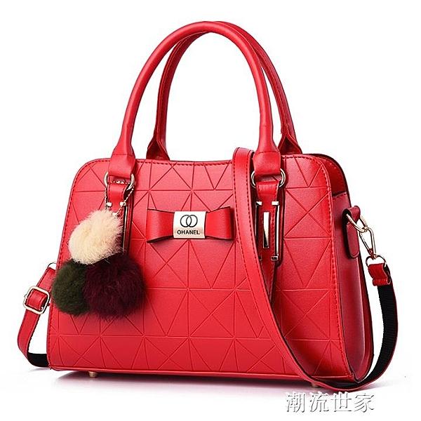 春夏女士大包包2019新款時尚紅色結婚包百搭單肩斜挎新娘包手提包『潮流世家』