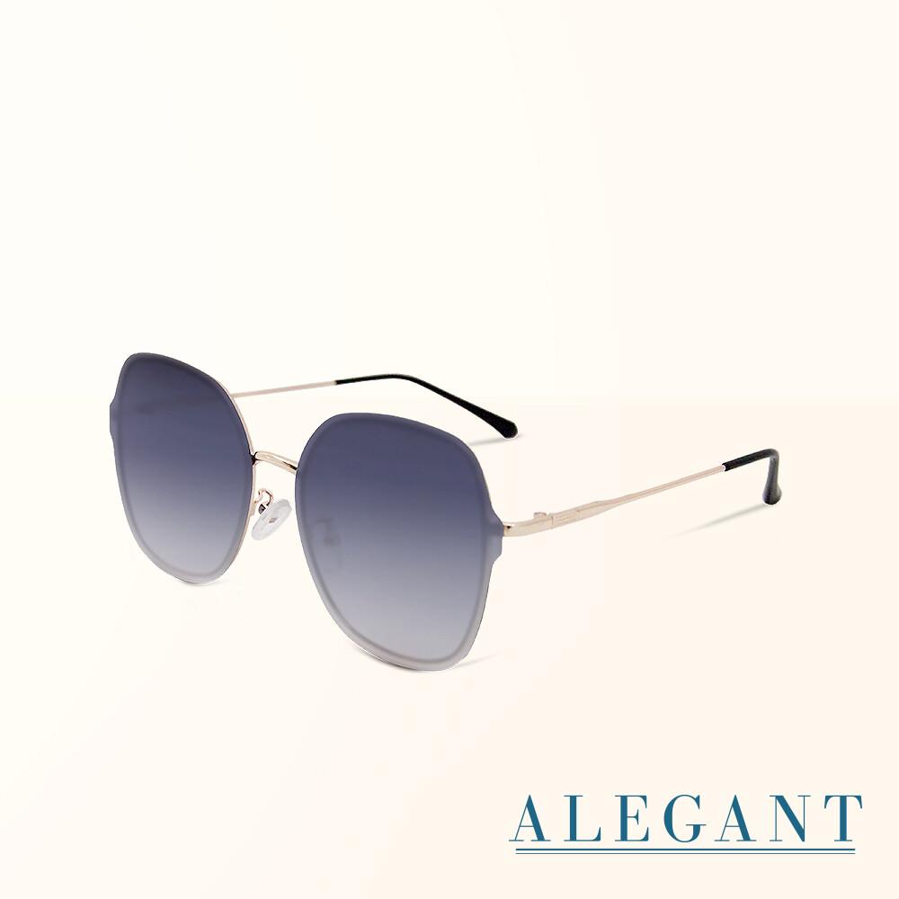 輕時尚漸層雪絨藍果凍透視金屬鏡框設計墨鏡uv400太陽眼鏡alegant