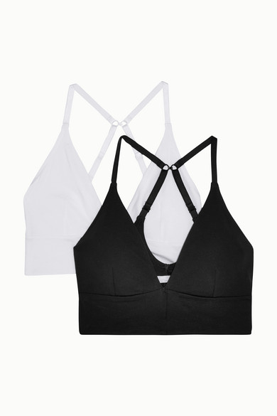 Skin - Helen 有机比马棉混纺平纹针织软杯三角文胸(两件套) - 黑色 - medium