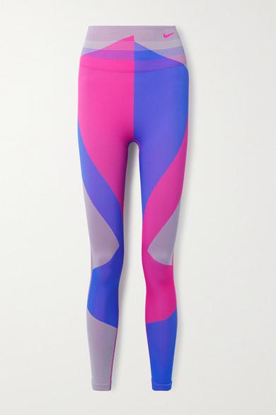 Nike - Icon Clash 拼色 Dri-fit 弹力针织紧身运动裤 - 紫色 - x small