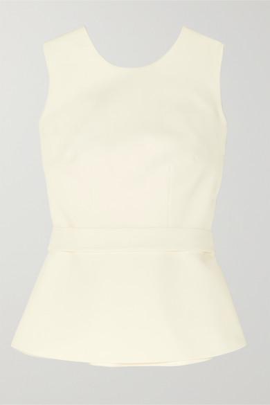 Safiyaa - Riddhi 配腰带露背绉纱上衣 - 象牙色 - FR42