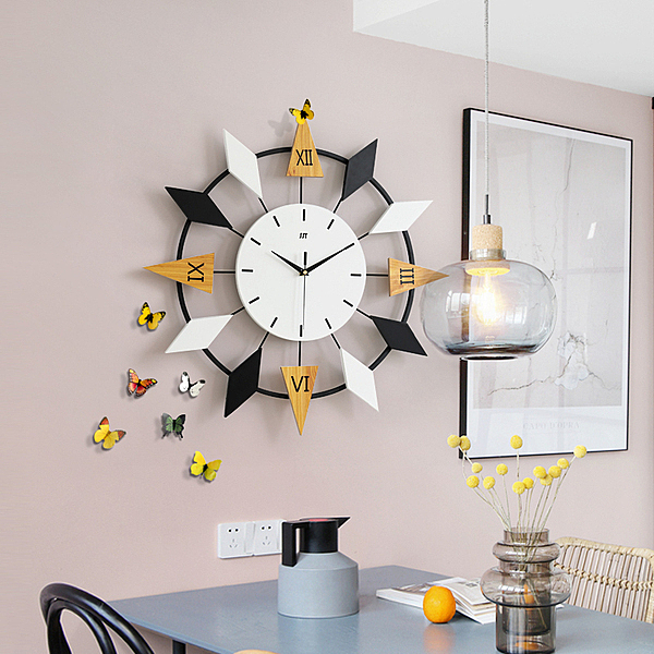 掛鐘 現代簡約鍾表家用時鍾掛鍾客廳個性創意時尚大氣北歐藝術靜音掛表 漫步雲端
