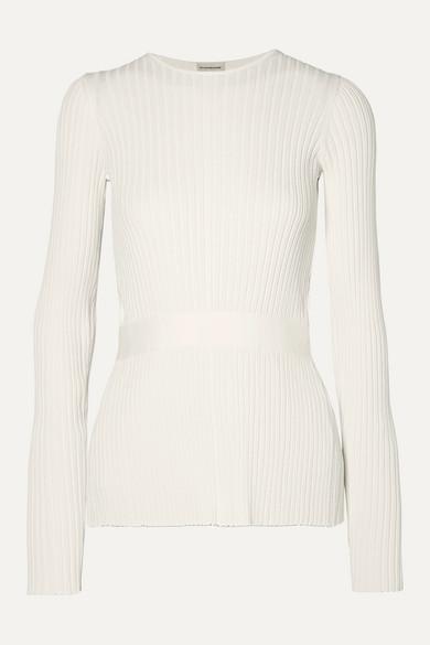 By Malene Birger - Geneva 系带细节露背罗纹针织毛衣 - 白色 - x large