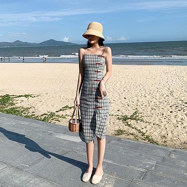旗袍 復古小個子旗袍式改良版吊帶格子洋裝女夏季新款修身顯瘦裙 【母親節特惠】