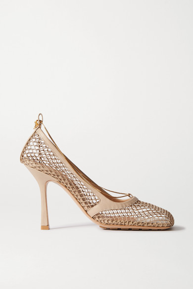 Bottega Veneta - 链条缀饰绳结编织皮革高跟鞋 - 浅褐色 - IT38