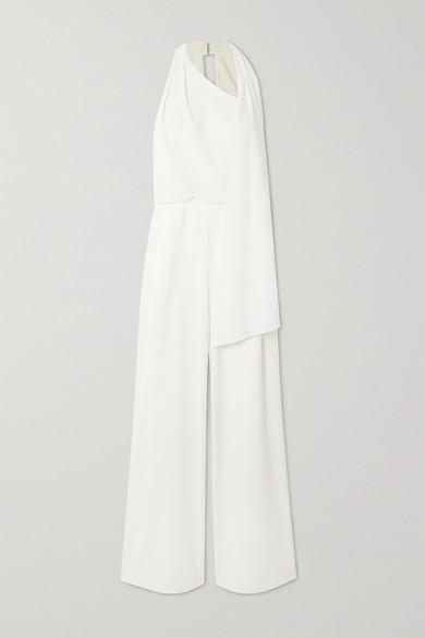 Halston - 围巾细节垂坠绉纱连身裤 - 奶油色 - US4
