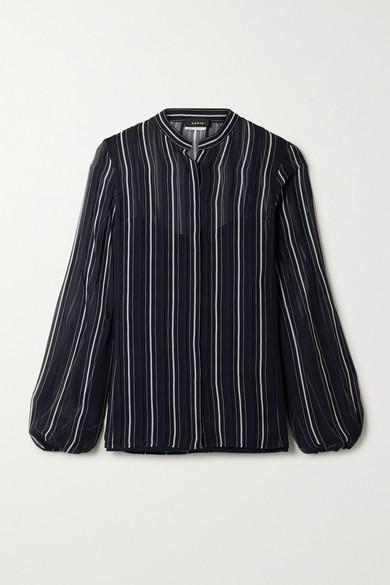 Akris - 条纹真丝乔其纱衬衫 - 午夜蓝 - US4