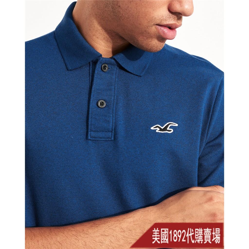 【1892美國】全新品Hollister男款(網眼材質)素面刺繡Logo翻領男短袖POLO衫 AF 海鷗 HCO 08