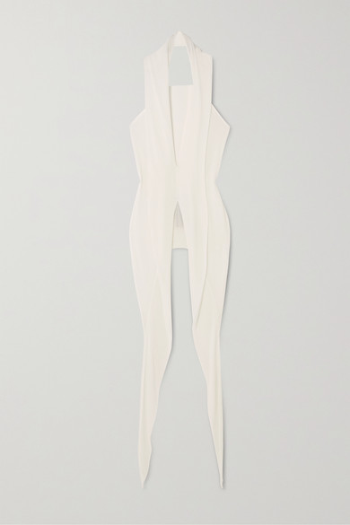 Rick Owens - Wishbone 垂坠平纹布挂脖上衣 - 白色 - IT44