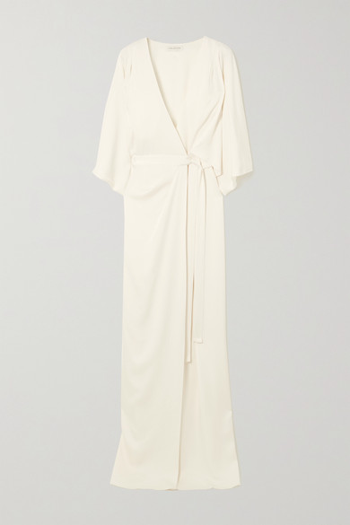 Halston - 垂坠缎布裹身礼服 - 米白色 - US10