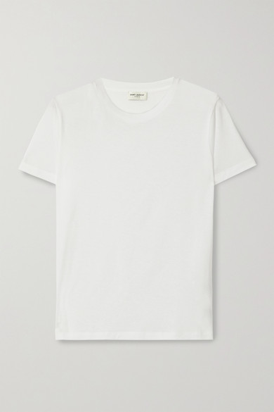 SAINT LAURENT - Essentials 贴花纯棉平纹布 T 恤 - 白色 - medium