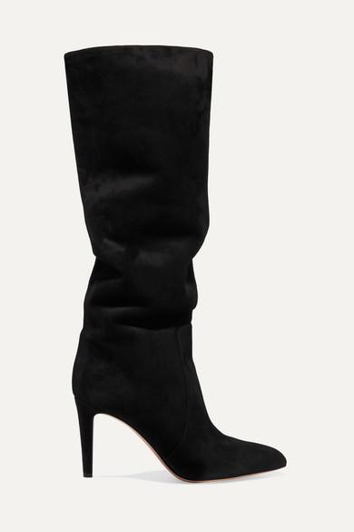 Gianvito Rossi - 85 绒面革及膝长靴 - 黑色 - IT36.5