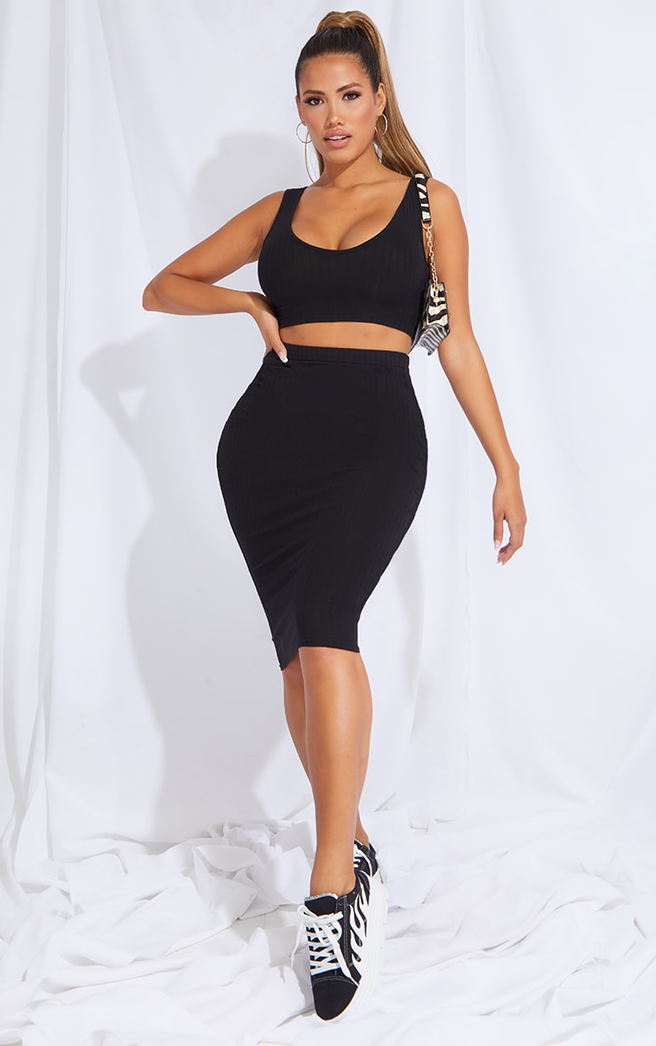 Shape Black Rib High Waist Midi Skirt