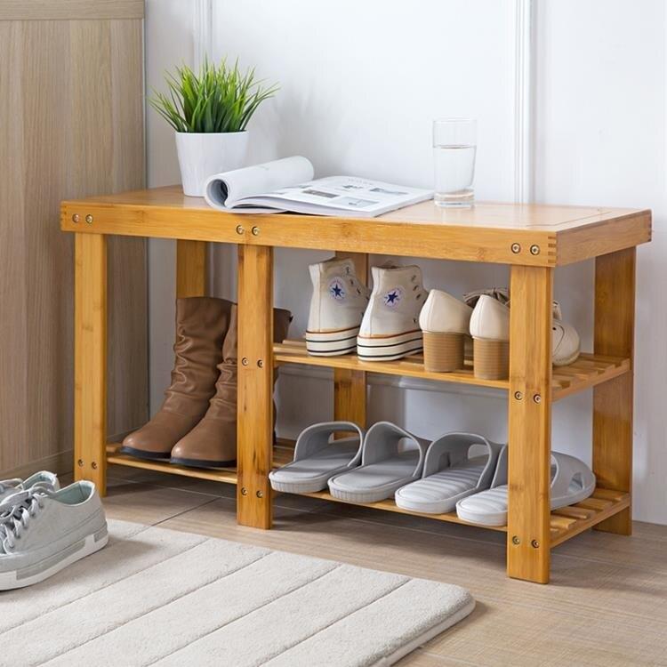 竹木換鞋凳門口多層鞋櫃鞋架子歐式現代簡易鞋架鞋子收納櫃 概念3C