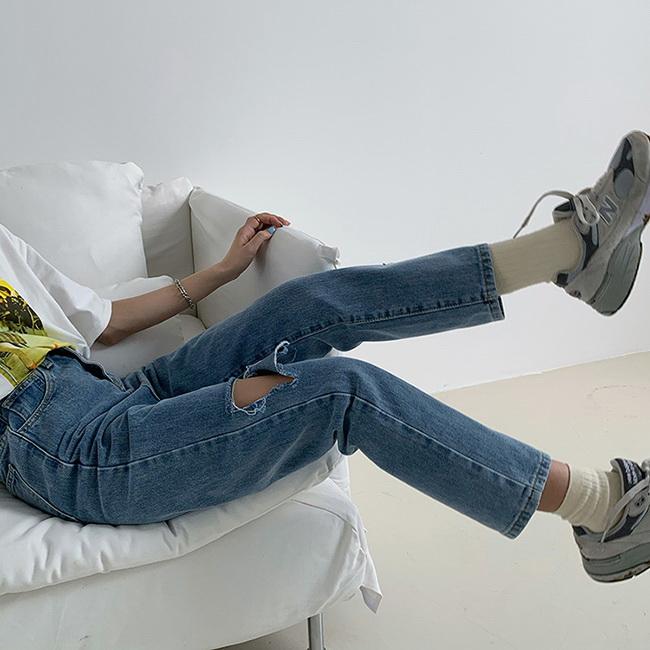 FOFU-牛仔九分褲簡約直筒破洞高腰牛仔九分褲【08G-G1660】