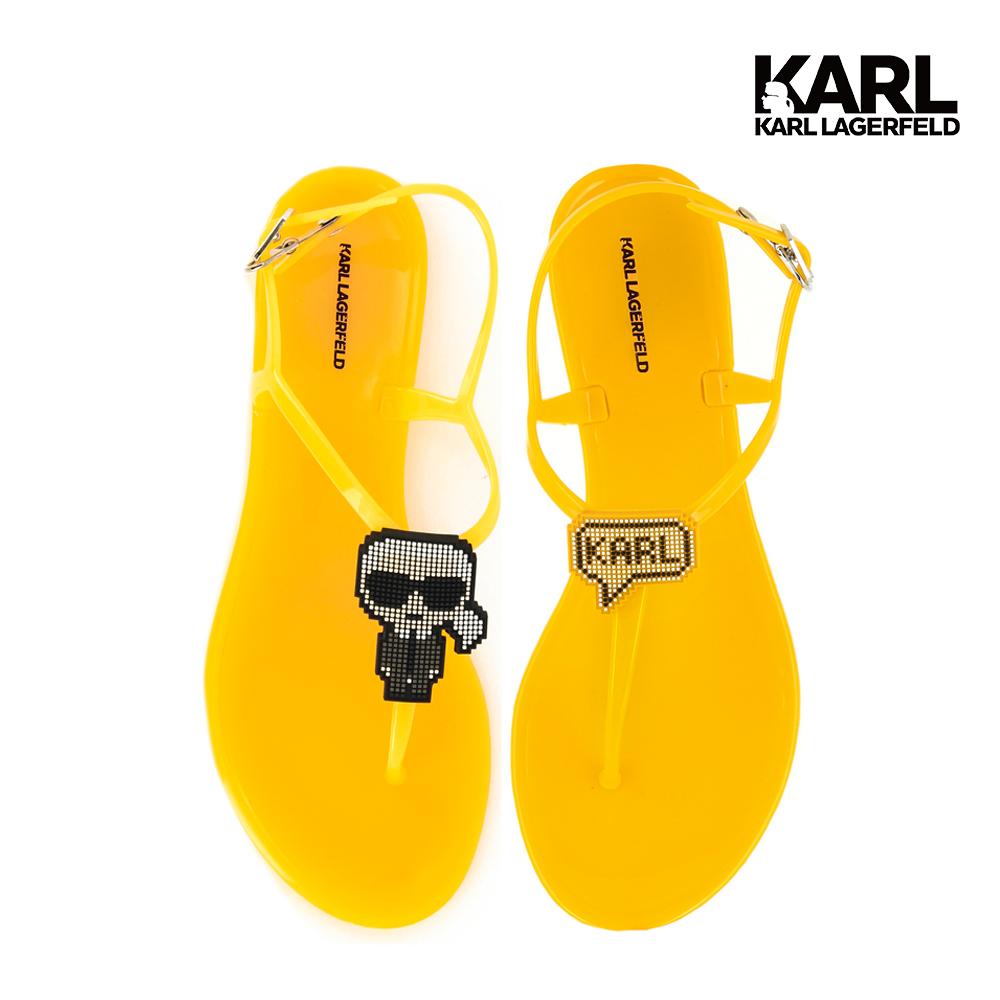 【KARL LAGERFELD】JELLY II 數碼KARL夾腳涼鞋-黃