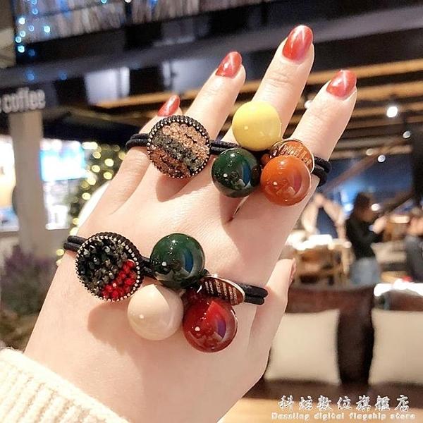 韓國東大門網紅球球髮繩髮圈簡約頭繩高彈力扎頭髮橡皮筋學生髮飾 聖誕節免運