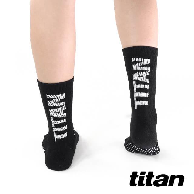 【titan】舒壓生活中筒襪_黑色~純棉透氣