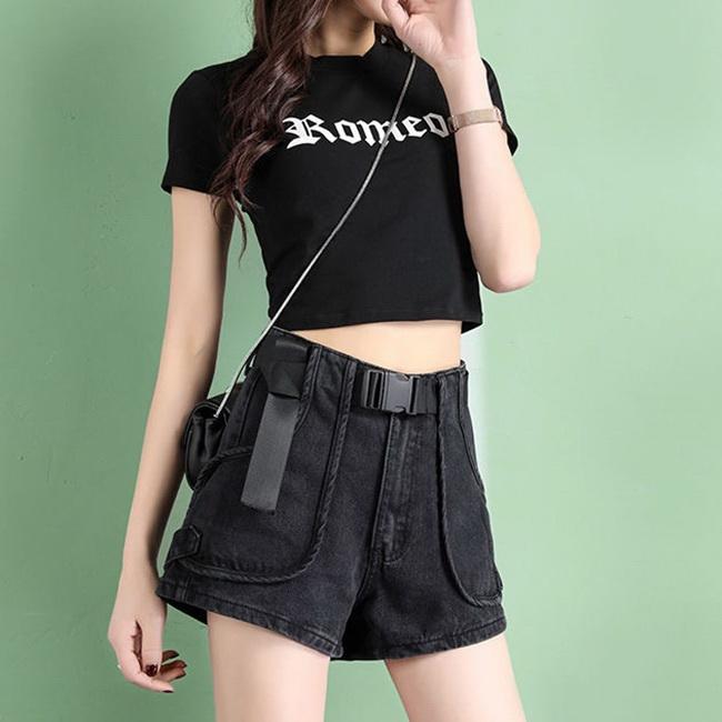 FOFU-牛仔短褲港風機能風皮帶帥氣黑色牛仔短褲【08G-G1653】