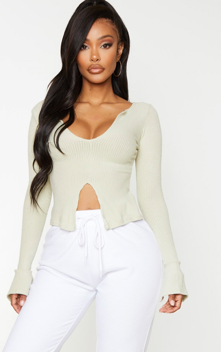 Shape Bright Green Brushed Rib Long Sleeve Top