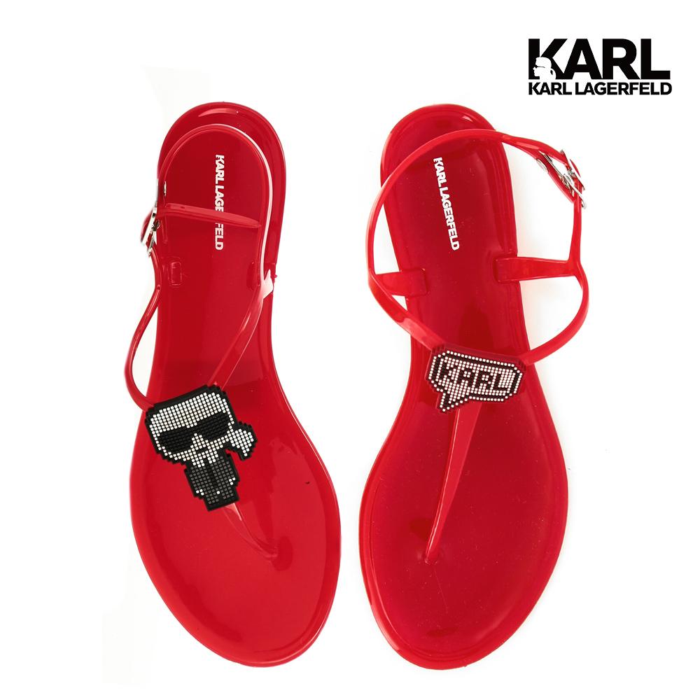 【KARL LAGERFELD】JELLY II 數碼KARL夾腳涼鞋-紅