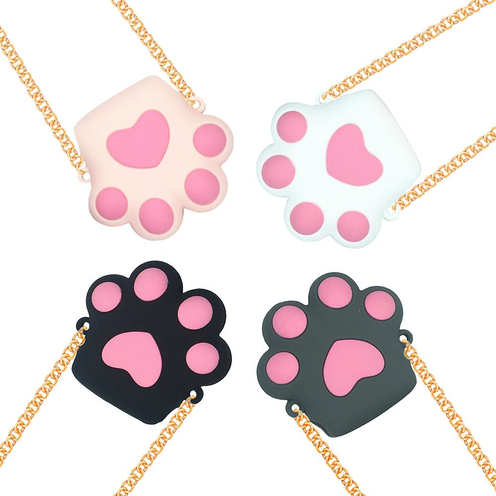 AirPods 貓咪大貓掌造型保護套含金屬長鍊(1/2代通用)