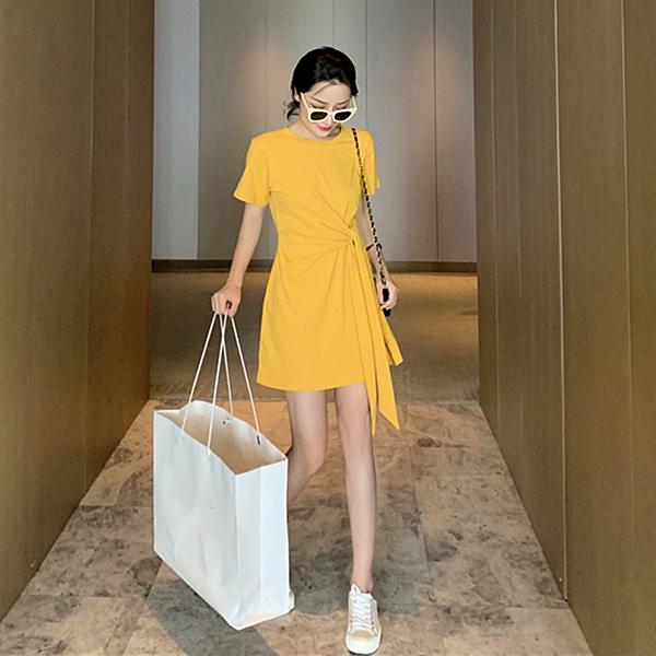 韓版氣質長裙 清新女生洋裝 純色日系及膝裙 法式溫柔風收腰顯瘦 女士夏季連衣裙 甜美連身裙