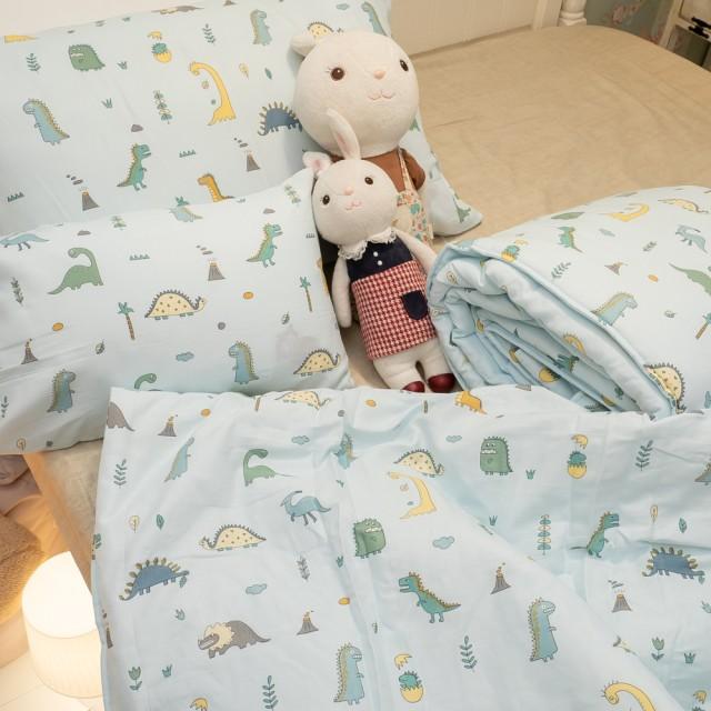二層紗(100%純棉) 涼被與枕套綜合規格賣場 (小小侏羅紀) 內有兒童尺寸可選【棉床本舖】