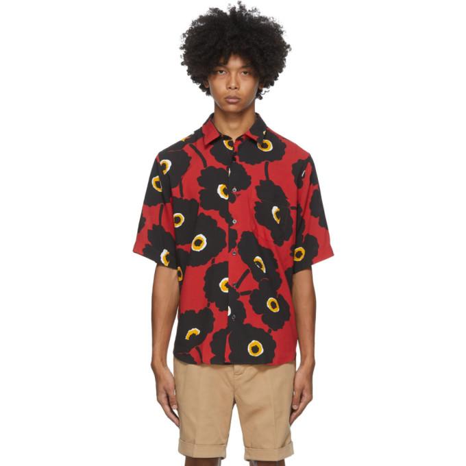 AMI Alexandre Mattiussi 黑色 and 红色 Summer Fit 印花短袖衬衫
