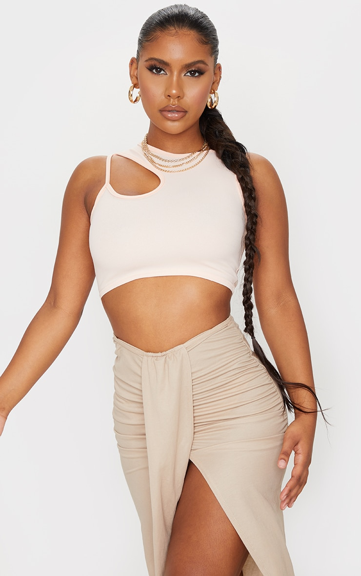 Nude Crepe Front Cut Out Detail Crop Top
