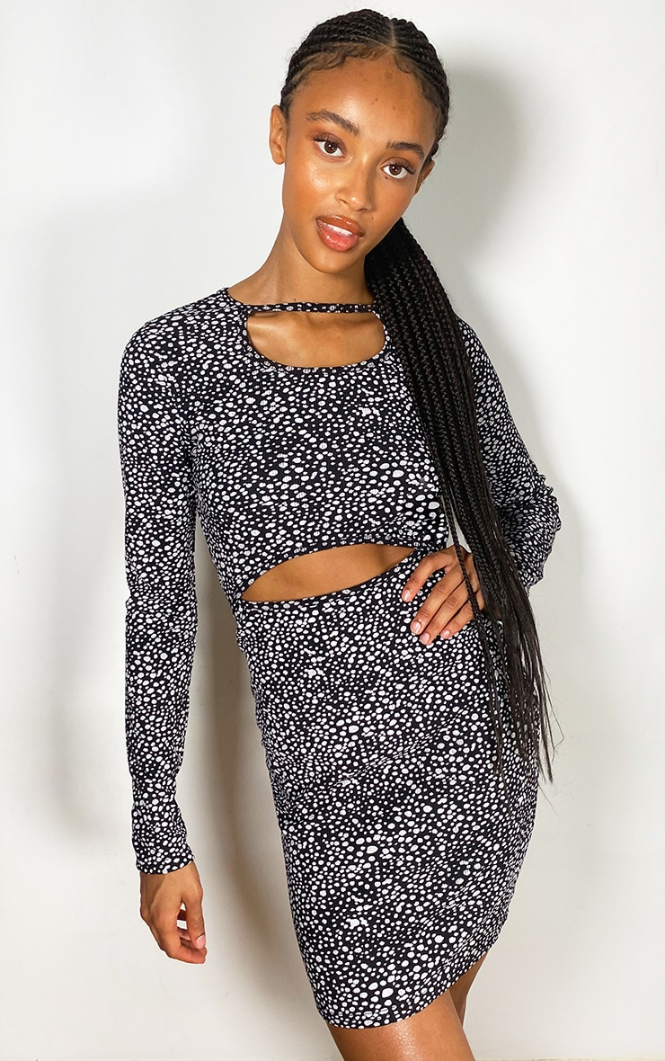 Black Dalmatian Print Cut Out Long Sleeve Rib Bodycon Dress