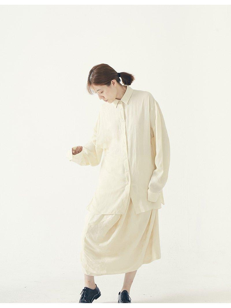 muterumours啞謎 奶油色棋盤格緞面質感寬松襯衫 光澤 垂感