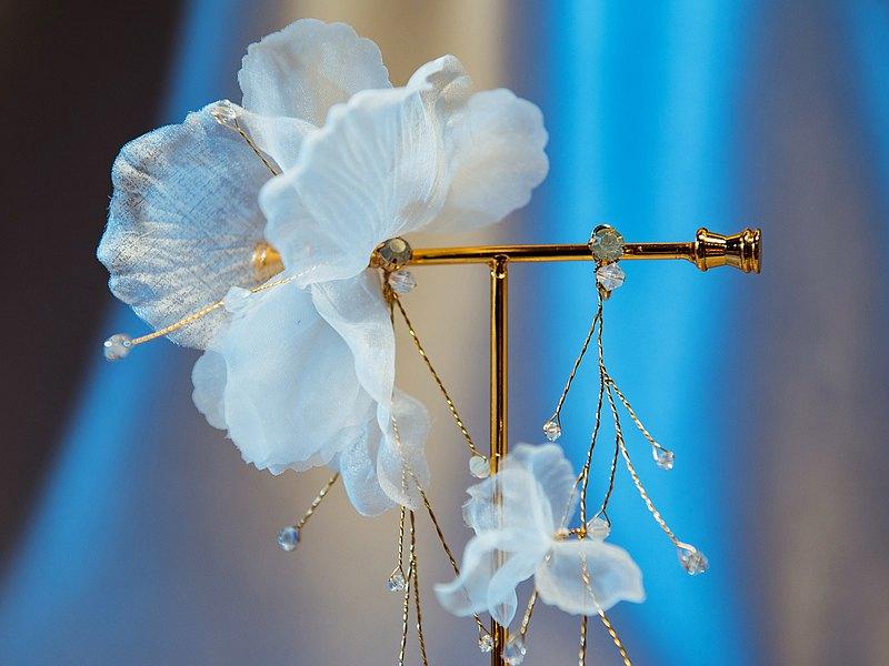 雪天使 浪漫紗花不對稱耳環/耳夾
