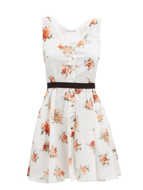 Emilia Wickstead - Katelyn Floral-print Mini Dress - Womens - White Print