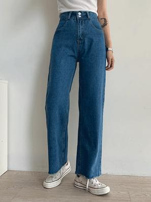 韓國空運 - Two-button high denim wide pants 牛仔褲
