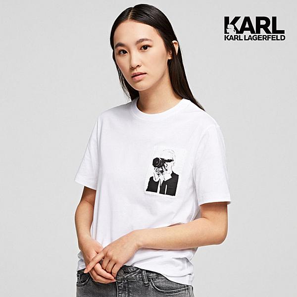 KARL LAGERFELD 傳奇KARL口袋T恤-白