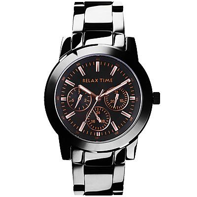RELAX TIME 時尚三眼對錶女生腕錶 R0800-16-10 玫瑰金X黑(女生)