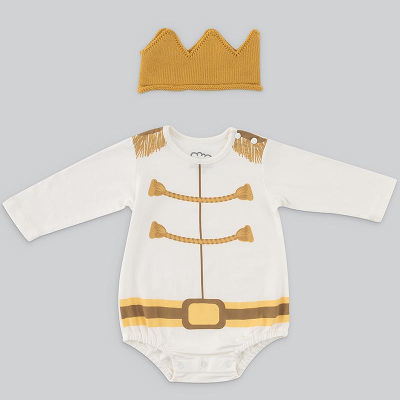 男嬰連身衣禮盒 - 白馬王子(MIT台灣製衣+皇冠帽) 長袖9-12個月