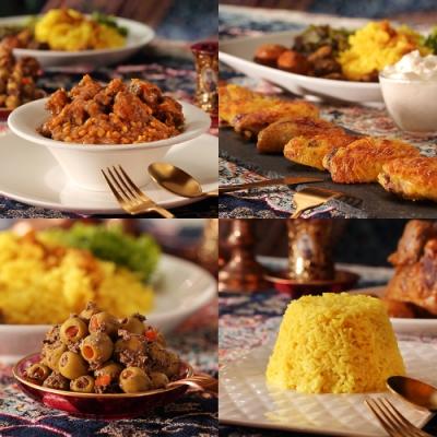 波斯廚房 冷凍加熱即食波斯料理包(檸檬豆牛肋條+優格烤雞2包+紅石榴橄欖+薑黃飯2包)