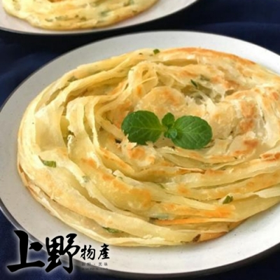 【上野物產】香脆不油膩  正宗台式千層九層塔味蔥抓餅(1350g±1.5%/約10片/包)x10