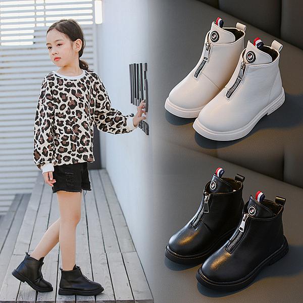 女童馬丁靴2020秋冬新款兒童短靴子中大童英倫風單靴保暖加棉皮靴
