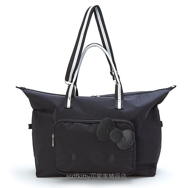 asdfkitty*KITTY黑色大臉行李箱拉桿手提袋/斜背包/波士頓包/購物袋-日本正版商品