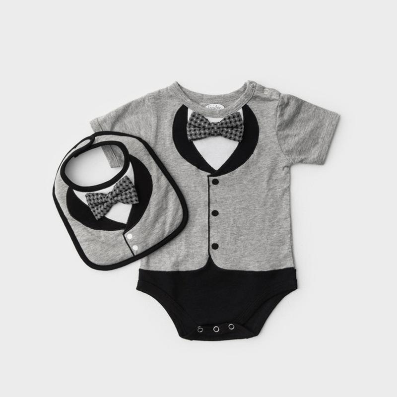 男嬰禮盒組 - 貝嗑漢紳士版 (連身衣+圍兜) 短袖18-24個月