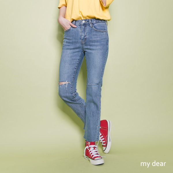 MD韓出清-膝割破微喇叭牛仔褲25-29-藍【04010977】
